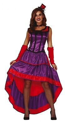 Purple Can Can Fancy Dress Saloon Show Girl Costume Burlesque Wild West Outfit • 19.99£
