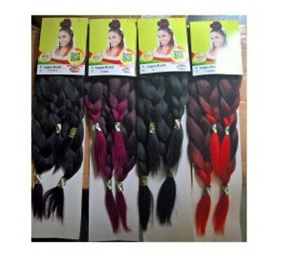 3PACKS OF XPRESSION Lagos Braids.Pre Pulled Stretched Hair Ready To Use • 15.99£