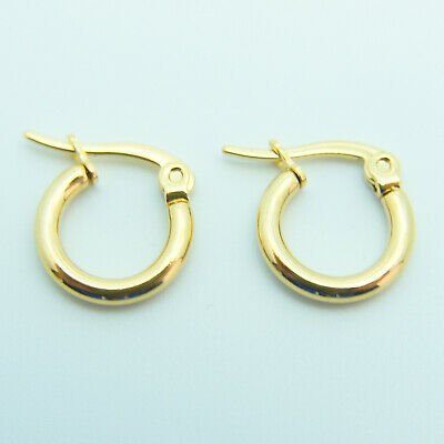 AU4.50 • Buy 18k Yellow Gold Plated Huggie Hoop 10mm Sleeper Earrings Non-allergenic AUS MADE