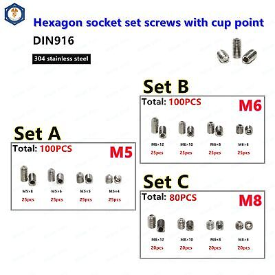 $8.92 • Buy M5 M6 M8 Hex Socket Set Cup Point Screw Assortment 304 Stainless Steel DIN916