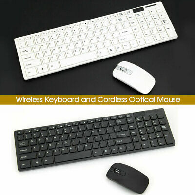 AU24.99 • Buy Cordless Optical Mouse And Wireless Keyboard For PC Laptop Win7/8/10 B & W Slim
