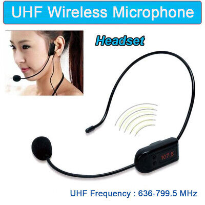 Professional Headset Mic UHF Wireless Microphone For Voice Amplifier Computer PC • 5.36£