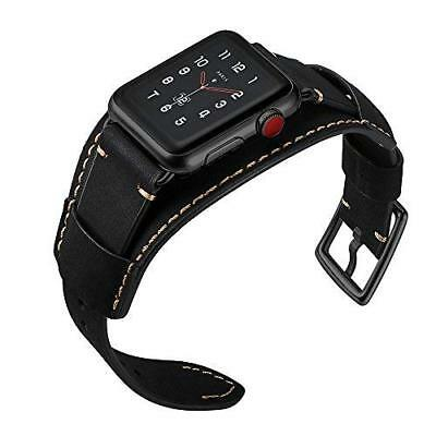 $ CDN53.06 • Buy IWatch Band 42mm/44mm Series 5 4 3 2 1 Genuine Leather W/Stainless Clasp Black