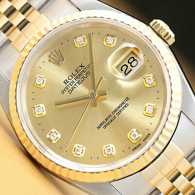 $ CDN7520.32 • Buy Rolex Mens 2-tone Datejust 16233 Champagne Diamond Dial Watch & Rolex Band