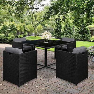 AU429.99 • Buy Gardeon 5 Piece 4 Seater Wicker Outdoor Setting Dining Sofa Table Chairs Set