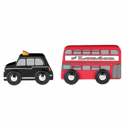 Tidlo Wooden Mini London Style Red Bus And Black Cab Vehicle Play Set Toys • 7.98£