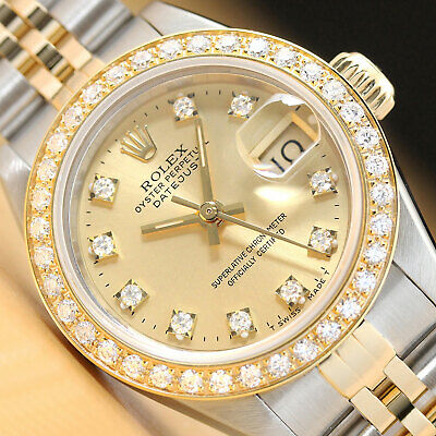$ CDN6181.90 • Buy Ladies Rolex Datejust Factory Diamond Dial 18k Yellow Gold Stainless Steel Watch