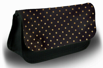 £12.99 • Buy Black And Golden Polka Dotted Pencil Case Bag Stationery School Dot Pattern B305