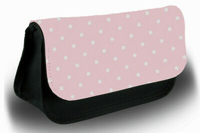 £12.99 • Buy Baby Pink And White Polka Dot Print Pencil Case Bag Stationery School Dots A567