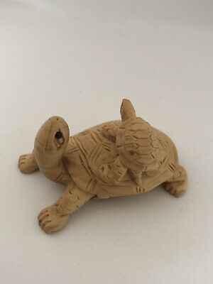 Netsuke Old Wood Hand Carved Turtle/ Tortoise With Baby • 58£