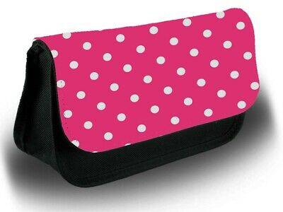 £12.99 • Buy Hot Pink Polka Dotted Pencil Case Bag Stationery School White Dots Dot Cute B989