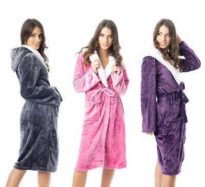 £13.99 • Buy Dressing Gown Womens Hooded Gowns Bath Robe Robes With Sherpa Hood Housecoat