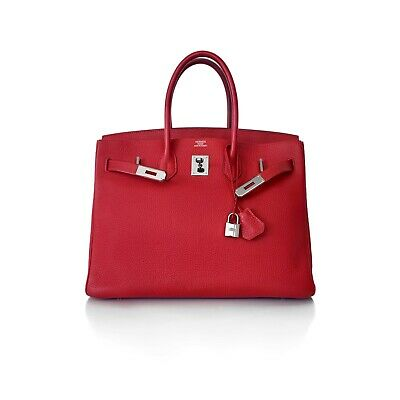 AU14990 • Buy Hermes Rouge VIF Red Togo Leather Birkin 35 Bag Handbag Ruthenium Hardware