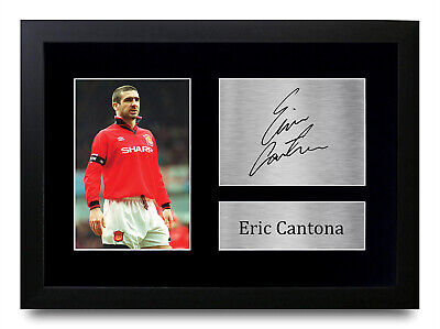 Eric Cantona Signed A4 A3 Framed Printed Autograph Manchester United Print Gift • 19.99£