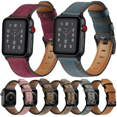 $ CDN14.65 • Buy For Apple Watch Series 5 4 3 2 1 38/40/42/44mm Genuine Leather Band Strap Casual