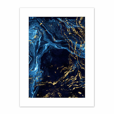 £12.99 • Buy Abstract Dark Blue Gold Water Print Canvas Premium Wall Decor Poster