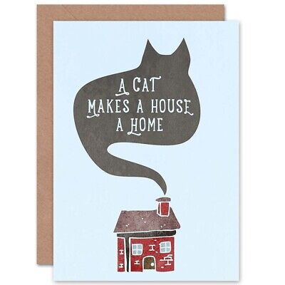 Home Cat House Smoke Blank Greeting Card With Envelope • 3.20£
