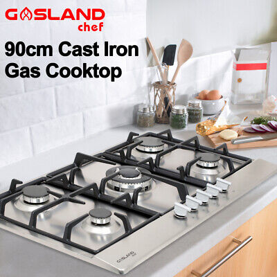 AU299 • Buy GASLAND Chef Gas Cooktop 90cm NG LPG Kitchen Stove 5 Burner Cook Top Stainless
