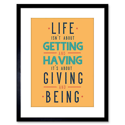 £14.50 • Buy Quote Typography Motivation Life Giving Having Kruse Framed Wall Art Print 9X7