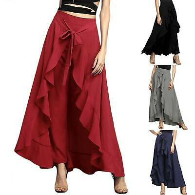 Womens Ruffle Palazzo Wide Leg Skirt Pants Casual Crop Loose Culottes Trousers • 10.99£