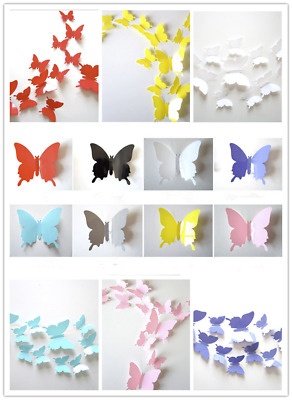 £2.48 • Buy 12PCs PVC Butterfly 3D Wall Stickers Decors Wall Art Wall Home Decorations UK