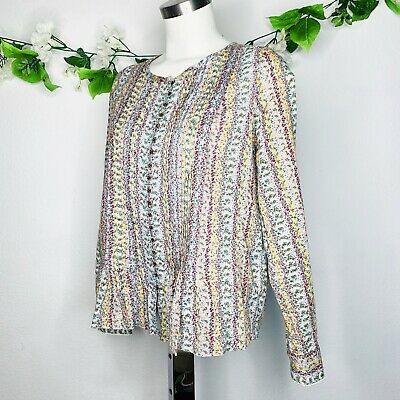 $ CDN42.29 • Buy Anthropologie Maeve Floral Pleated Buttons Long Sleeve Blouse Women's Size Small