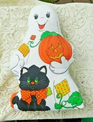 $ CDN24.98 • Buy Vintage Halloween Stuffed Cloth Ghost With Mice And Black Cat Toy / Pillow