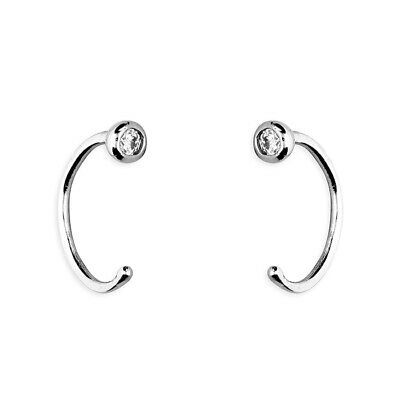 925 Sterling Silver Ball Crystal 9mm Half Hoop Earrings  • 6.97£