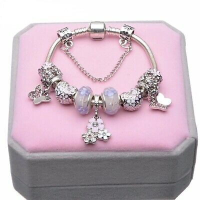 AU25.99 • Buy Purple Silver Plated Bracelet With Charms By Pandora's Box