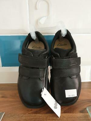 Boys Clarks Deaton Black Leather Smart School Shoes, Brand New Tagged, Size 8F • 19.99£
