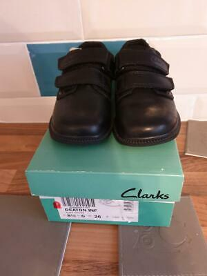 Boys Clarks Deaton Black Leather Inf School Shoes, Brand New Boxed, Size 8F • 22.99£