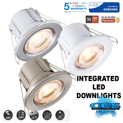 V-tac Fire Rated 5 Watt Integrated Dimmable Led Downlight Ip65 Cool/warm White • 7.49£