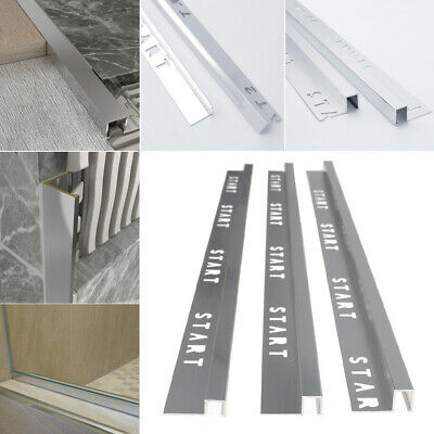 10 X Tile Trim Aluminium Edge Bright/Brushed Protector Corner Trims Panel L 2.5M • 35.95£