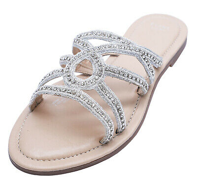 Ladies Leather Ex-evans Extra Wide Fit Eee Flat Slip-on Sandals Shoes Sizes 4-10 • 15.99£