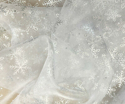 £5.99 • Buy Christmas Fabric By The Metre   White & Silver Foil Snowflake   Organza Fabric