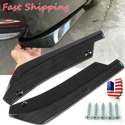$19.99 • Buy 2x Car Auto Carbon Fiber Rear Bumper Lip Diffuser Splitter Canard Protector Top