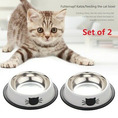 2x Pet Dog Puppy Cat Feeding Bowls Stainless Steel Food Water Bowl Cute Cat Claw • 5.29£