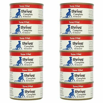 12 X Thrive Wet Cat Food Tuna Fillet 100% Natural Complete Tin - Real Fish - 75g • 14.35£