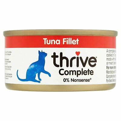 Thrive Wet Cat Food Tuna Fillet 100% Natural Complete Tin, Real Fish Broth - 75g • 4.54£