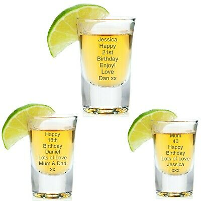 Personalised Shot Glass For Birthday 18th 21st 30th Gift Girls Mens Him Her 28ml • 6.95£