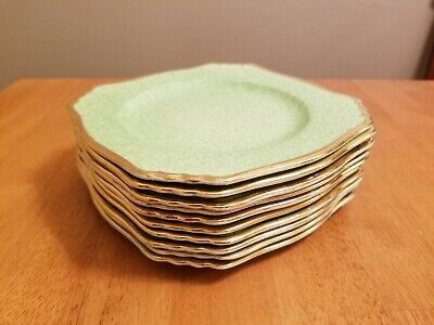 $ CDN78.84 • Buy Royal Winton Grimwades England Sponge Green Gold Trim Bread & Butter Plates Set