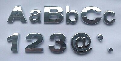 £0.99 • Buy Upper And Lower Case Chrome 3D Self-Adhesive Letters / Numbers Sticker Home Car.