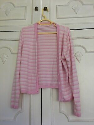 N Peal Pink/cream Stripe Cashmere Cardigan, Size M, Made In Scotland • 23£