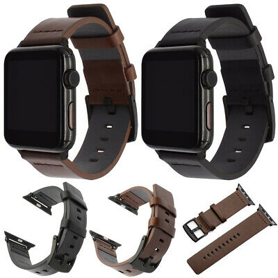 $ CDN11.32 • Buy For Apple Watch Series SE 6 5 4 3 2 1 38/42/40/44mm Genuine Leather Strap Band