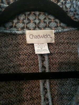 £17.90 • Buy Chadwicks Vintage Wool Button Jacket Blue Plaid Pattern Fringed Pre Owned  M