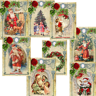Vintage Christmas Card Toppers, Xmas Card Making, Christmas Paper Scrapbook Tags • 2.99£