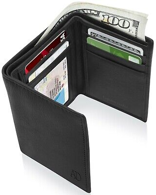$9.99 • Buy Real Leather Slim Wallets For Men Trifold Mens Wallet W/ ID Window RFID Blocking