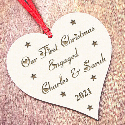 Personalised 1st First Christmas Engaged Decoration Present Engagement Gifts D2 • 5.99£