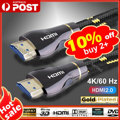 AU13.99 • Buy 4K Ultra HD Premium HDMI Cable V2.0 3D High Speed 30AWG Braided Ethernet 2m 3m5m