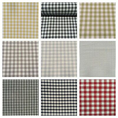 £10.95 • Buy Luxury Gingham Check | 100% Cotton Woven Material Fabric Curtains | 10 Colours